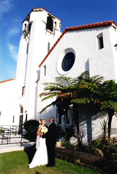 bride and groom outside Chino United Methodist Church